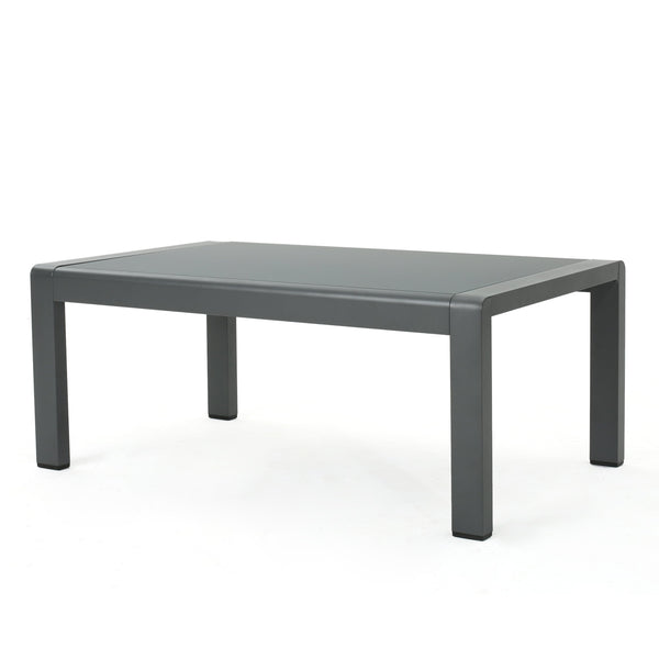 Canobie Outdoor Aluminum Coffee Table With Tempe Glass Table Top
