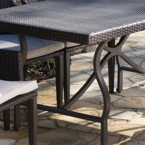 Hardwood Outdoor 7 Piece Wicker Rectangular Dining Set With Aluminum Framed Dining Table And Water Resistant Cushions