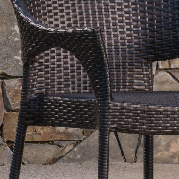 Idalia Outdoor 3 Piece Wicker Chat Set With Finished Aluminum Table And Wicker Legs