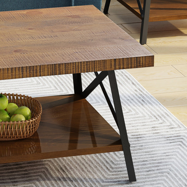 Calliope Industrial 3 Piece Faux Wood Coffee And End Table Set