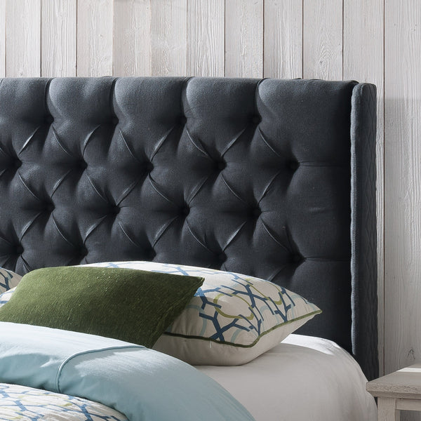 Leya Tufted Fabric Winged Queen Headboard