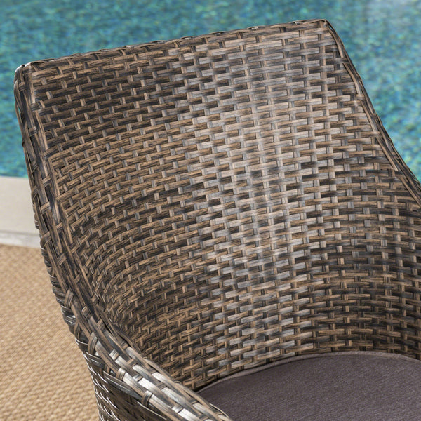 High-Back Outdoor Wicker Dining Chairs With Water Resistant Cushions (Set Of 4)