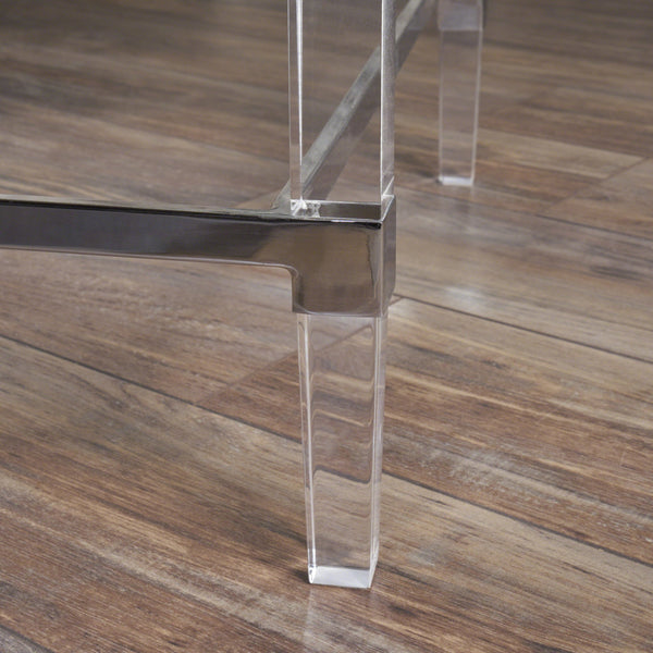 Batz Modern Tempered Glass Rectangular Coffee Table With Acrylic And Iron Accents