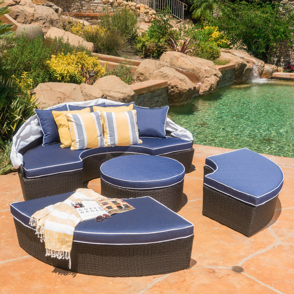 Kyoto Outdoor Wicker Daybed With Water Resistant Cushions And Cover