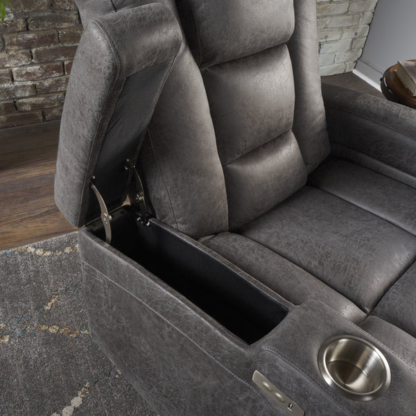 Elysabeth Tufted Slate Microfiber Power Recliner With Arm Storage And Usb Cord