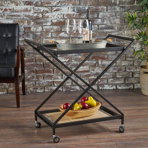 Shauna Industrial Iron Bar Cart With Tempe Glass Shelves