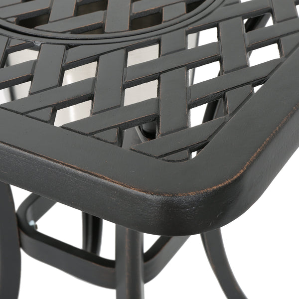 Auley Outdoor Cast Aluminum Chat Table With Ice Bucket