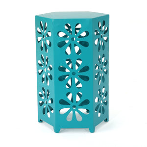 Gilia Indoor 12 Inch Matte Iron Floral Side Table