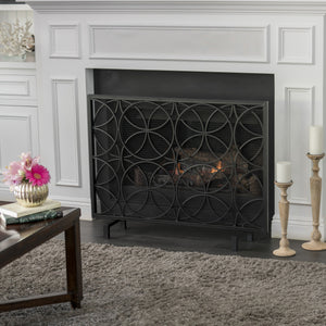 Uma Single Panel Iron Fireplace Screen