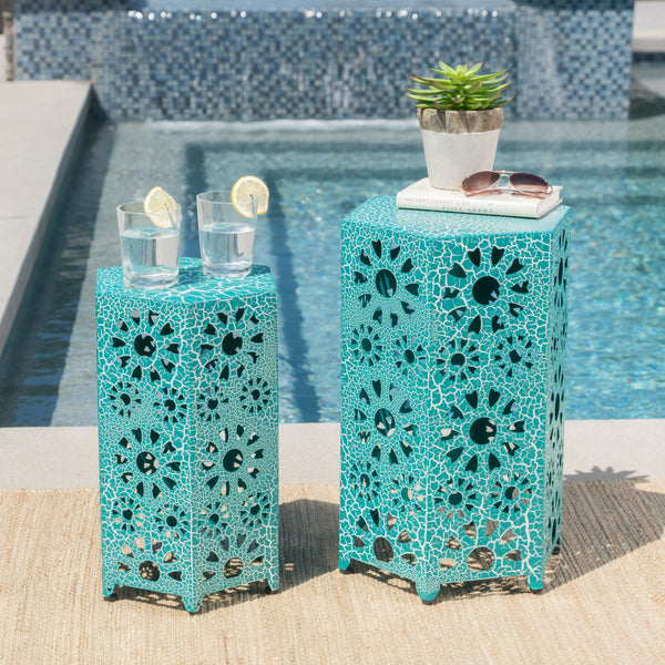 Eleanora Outdoor 12 Inch And 14 Inch Crackle Sunburst Iron Side Table Set