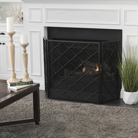 Chazz 3 Panelled Iron Fireplace Screen