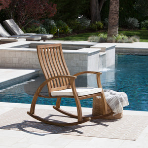 Cavalier Outdoor Natural Stained Acacia Wood Rocking Chair With Water Resistant Cushion