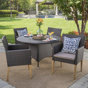 Bardow Outdoor 5 Piece Wicker Circular Dining Set With Wood Finished Legs And Water Resistant Cushions