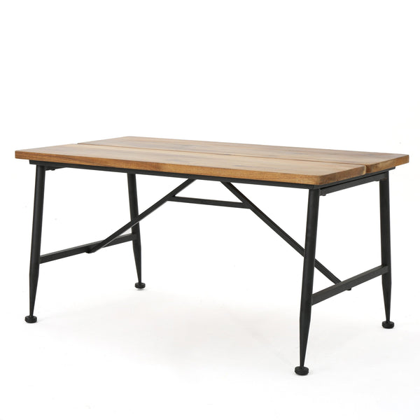 Elba Industrial Antique Finished Acacia Wood Coffee Table With Iron Accents