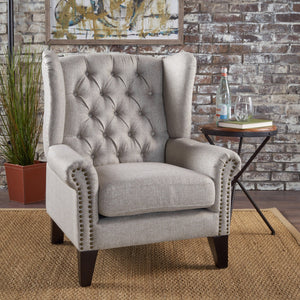 Laguna Traditional Winged Fabric Accent Chair