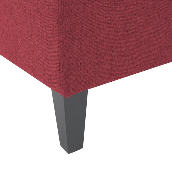Bridger Deep Red Fabric Sectional Couch with Storage Ottoman