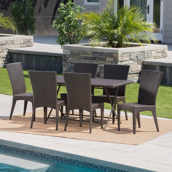 Ashworth Outdoor 7 Piece Wicker Dining Set With Foldable Table