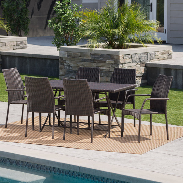 Anya Outdoor 7 Piece Wicker Dining Set With Foldable Table And Stacking Chairs