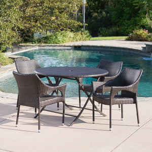 Kolton Outdoor 5 Piece Wicker Dining Set With Foldable Table And Stacking Chairs