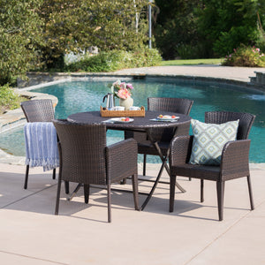 Brady Outdoor 5 Piece Wicker Dining Set With Foldable Table