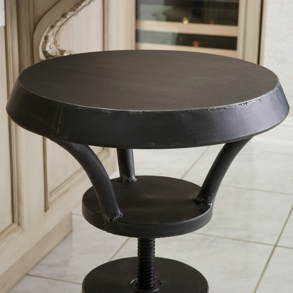 Lrya Rustic Iron Top Adjustable Barstool