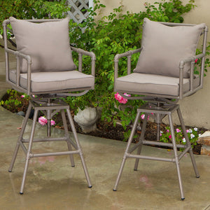 637162117132 Tallahassee Pipe Outdoor Adjustable Bar Stools (Set of 2)