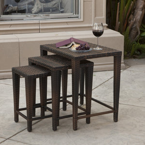 Orval Outdoor Wicker Nested Tables (Set Of 3)