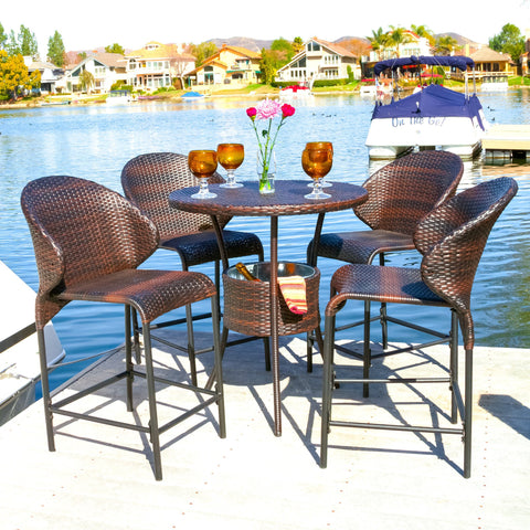 Mowry Wicker Outdoor Bistro Bar Set With Ice Pail