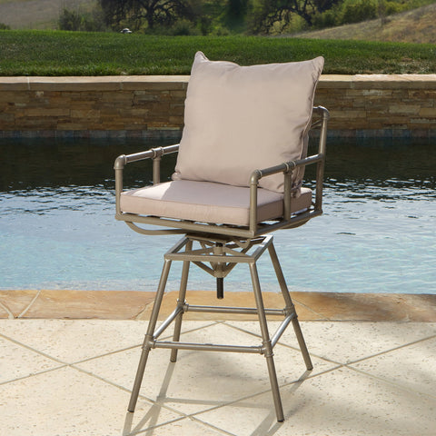 Nora Pipe Outdoor Adjustable Barstool
