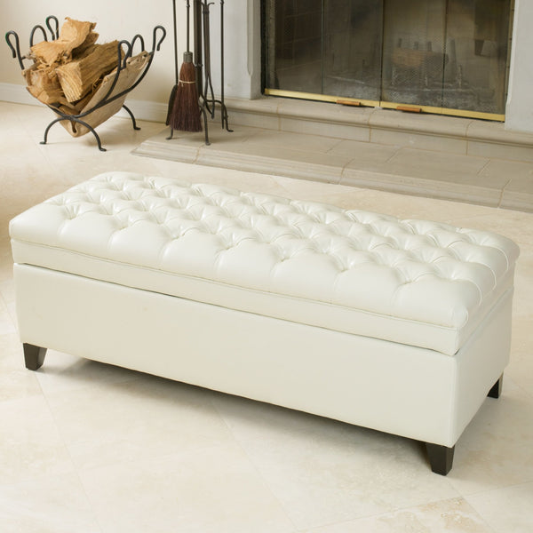 Hartford Tufted Leather Storage Ottoman