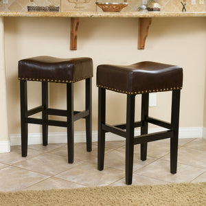Lorna Backless Leather Bar Stool (Set Of 2)