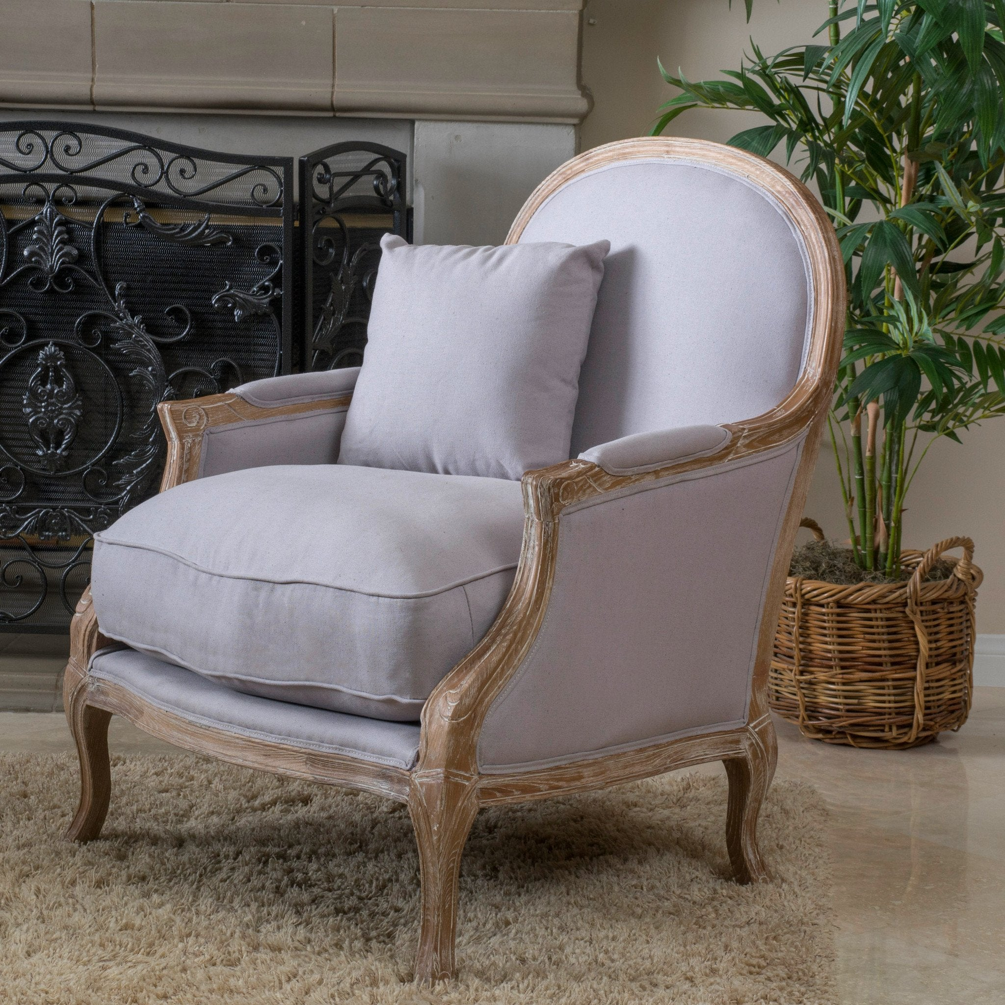 Lyam Weathered Natural Fabric Arm Chair