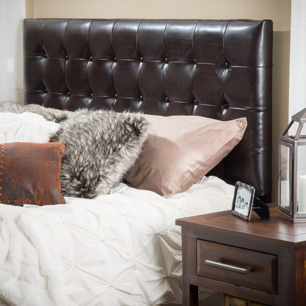 Bellamy Queen/Full Button Tufted Leather Headboard