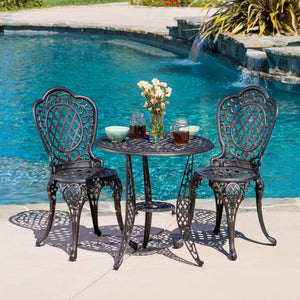 Cockadoodle 3-Piece Cast Aluminum Outdoor Bistro Set