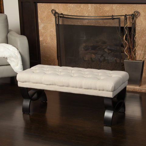 Savone Tufted Fabric Ottoman Bench