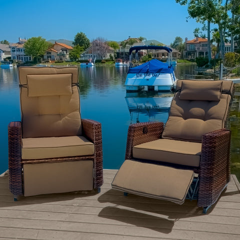 Orval Outdoor Wicker Recliners (Set Of 2)