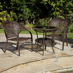 Orval Outdoor Wicker 3-Piece Bistro Set