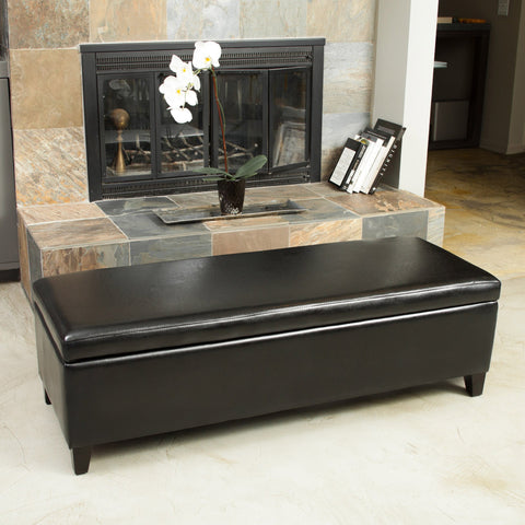 Xavier Bonded Leather Storage Ottoman Bench