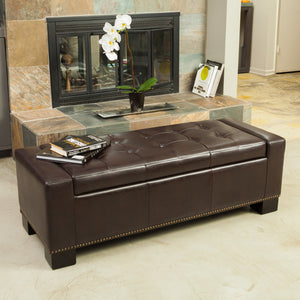 Everly Leather Storage Ottoman With Studs
