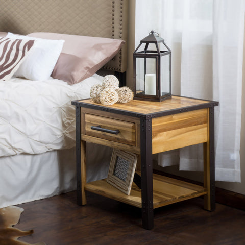 Luise Acacia Wood One Drawer End Table