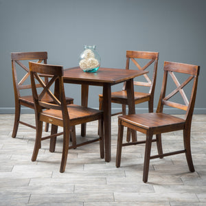 Carnellon Wood Square Table And Chair Set (5 Piece Set)