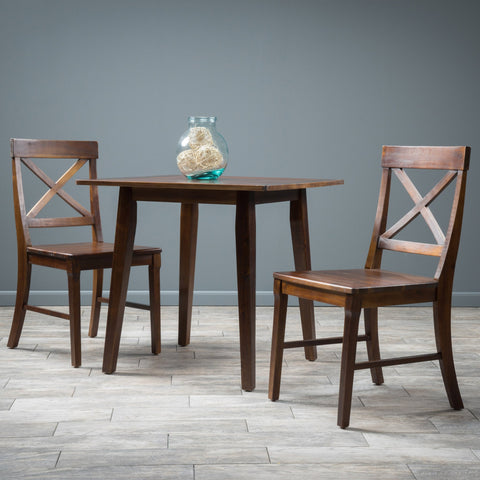 Carnellon Wood Square Table And Chair Set (3 Piece Set)