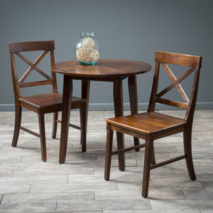 Carnellon Wood Round Table And Chair Set (3 Piece Set)