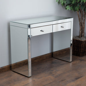 Round Mirrored Two-Drawer Console Table