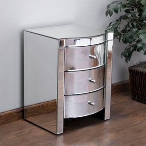Round Mirrored Three-Drawer Side Table