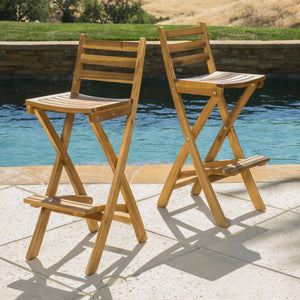 Troy Foldable Outdoor Wood Barstool Set
