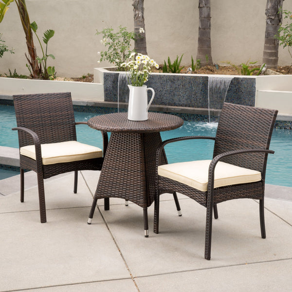 Perla Outdoor 3-Piece Wicker Bistro Set With Cushions
