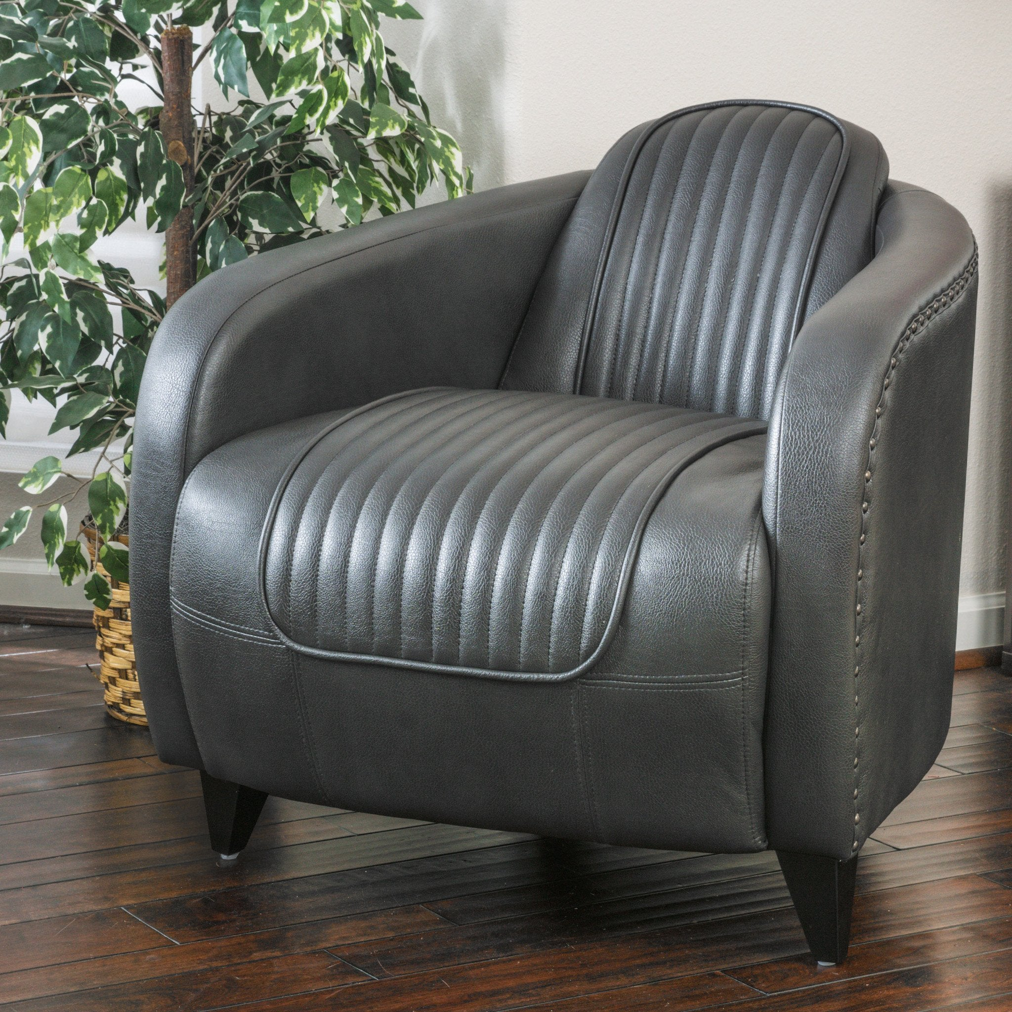 Palmer Roman Faux Leather Club Chair With Nailheads