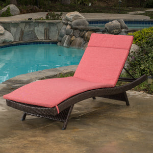 Sagan Outdoor Wicker Adjustable Chaise Lounge With Colored Cushions