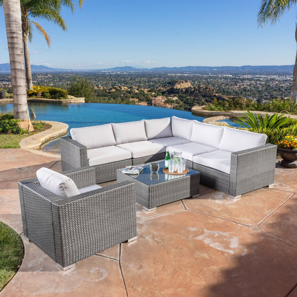 Santa Barbara Outdoor Wicker 6 Seater Sectional Sofa Set With Aluminum Frame And Water Resistant Cushions